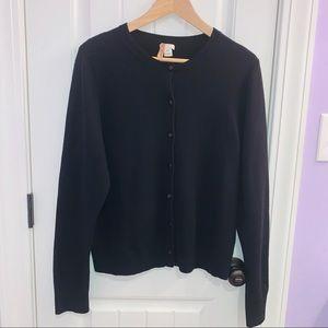 J.Crew 100% Cashmere Black Medium-Weight Cardigan
